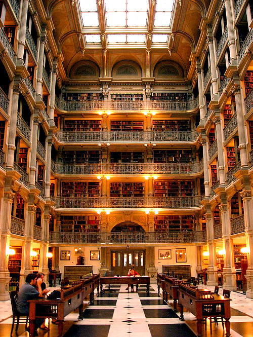 bookmania:  The Peabody Stack Room of the George Peabody Library, Baltimore, Maryland. The George Peabody Library, formerly the Library of the Peabody Institute of the City of Baltimore, dates from the founding of the Peabody Institute in 1857. It contains more than 300,000 titles—most of which date from the eighteenth to the early twentieth centuries. Renowned for its striking architectural interior, the Peabody Stack Room contains five tiers of ornamental cast-iron balconies, which rise dramatically to the skylight 61 feet above the floor. In addition to its traditional use as a research library, it is available as an event space. The library accommodates wedding ceremonies, wedding receptions, private dinners, holiday parties and lectures. (via Lisa Pisa)