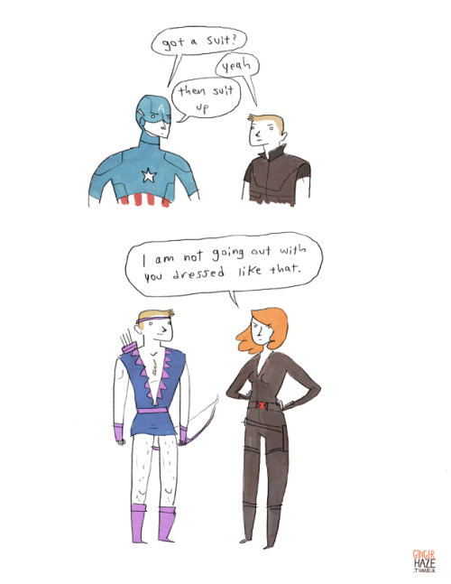 gingerhaze:  Finding out about Hawkeye's 70's miniskirt costume is one of my favorite things that has ever happened to me.