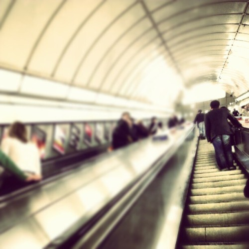 Massive escalator, Angel, London. (Taken with instagram)