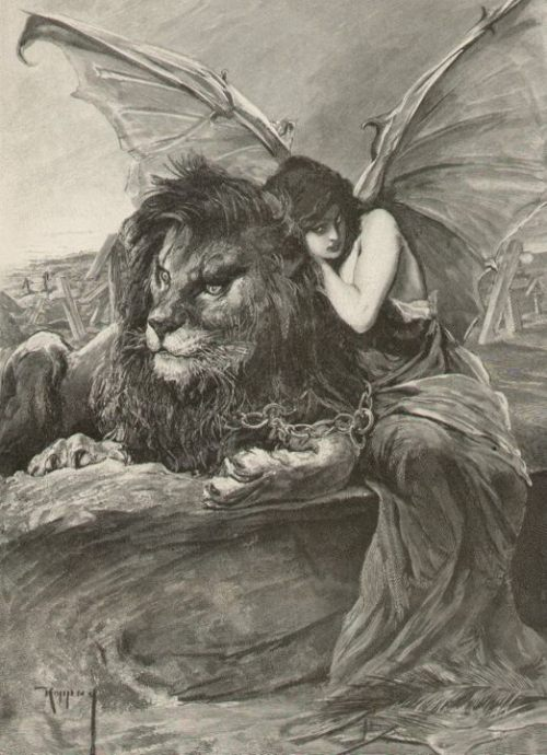 Lion & Woman with Devil Bat Wings Chained Together, J. Koppay (1859-1927)