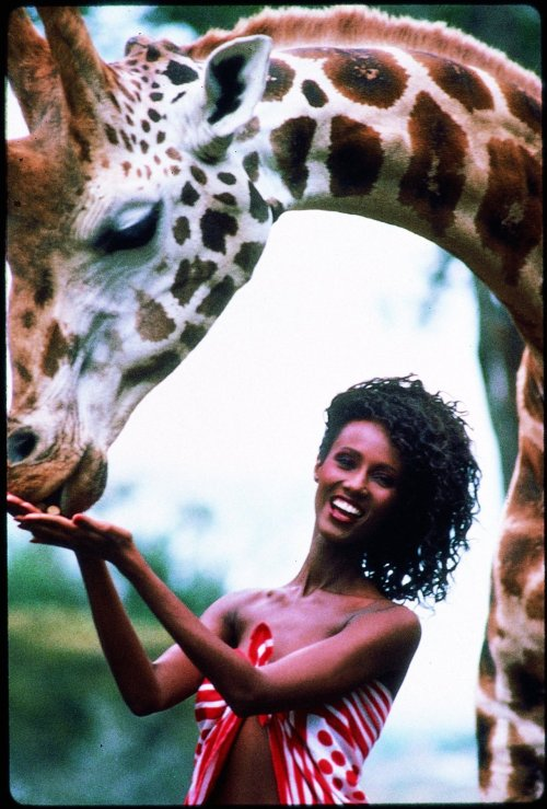 Iman in Kenya by Peter Beard (1980)