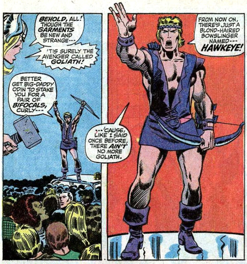 jonsneaux:  The world should know about Hawkeye's 70's purple-skirt ensemble. Way to break the heteronormative confines of superhero wear, Clint!    Clint Barton is an Empowered Strong Female Character.
