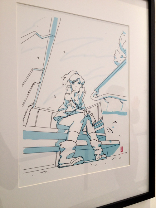 "bryankonietzko:  The TMNT crew had a group show in the art gallery at Nickelodeon with a ""girl"" theme. I thought one of the girls looked familiar! Turns out it was a fan art piece by Adam Lucas, former storyboard revision artist on Korra, and current storyboard artist on TMNT. Based on the stairwell setting and her Naota-like boots, I like to think of this as a mash-up between FLCL and Korra, something I fully support. I'd like to see more of that mash-up! Adam is the creator of the comic Goldilock. He moved out from Virginia to work on Korra, his first gig in animation.  This is also kind of encouraging for TMNT too."