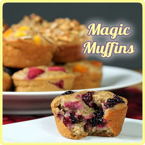"DIY Make Ahead Low Calorie Healthy Muffin Recipe or ""Magic Muffins"". They are named ""Magic Muffins"" because they are 124 calories, have no eggs, no extra fat, and are made with whole grains and lots of other info at the link. You can now find almost all of these ingredients anywhere. The recipe, the twelve flavor versions, info etc… at The Yummy Life here."