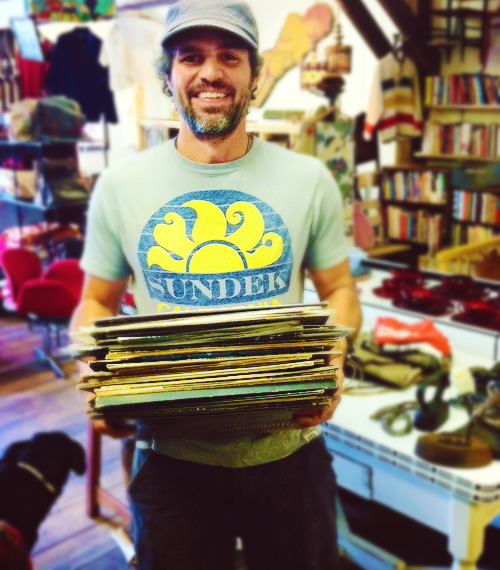 …Mark Ruffalo came by the shop yesterday. Having just gotten a new record player he was excited to stock his library… His tastes varied, Callas, Joni Mitchell, Led Zeppelin, CSNY, and Elvis. He left smiling. [x]