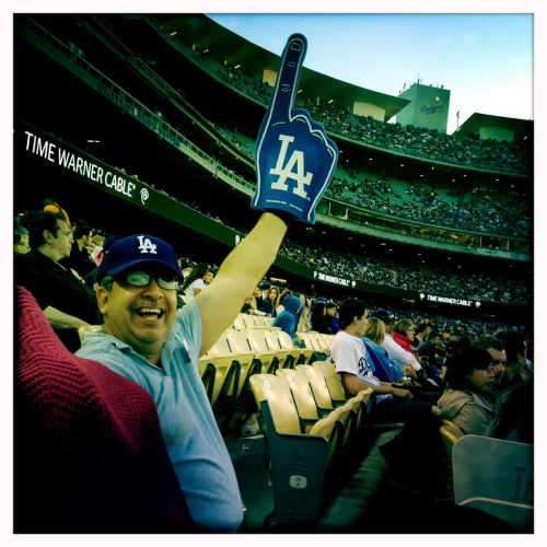 My father at his first Dodgers game last night. He's only lived in Echo Park for 30 years… It was about time Dad!