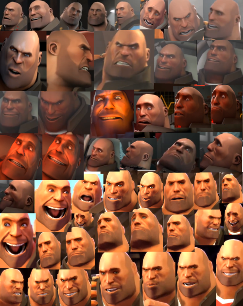 about 45 pictures of Heavy's facedfgjddjdj the ones at the bottom are all from meet the heavy they are so much oranger and lower quality than the others OTL