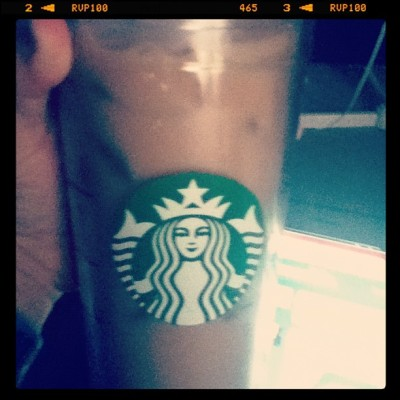 #Starbucks via caramel #icedcoffee with half and half. #food #coffee #addicted #personal  (Taken with instagram)