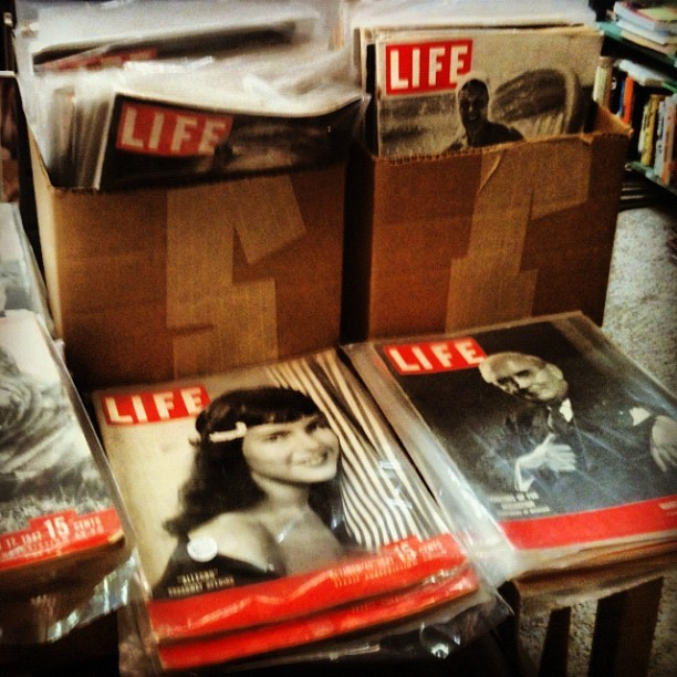 Extremely old #Life #magazines, At the #Uses #bookstore #LOVE IT! #books #old #antique #vintage #old #dusty #paper #modern #hipster #AMAZING! #peace #tranquility #buying #shopping #photography   (Taken with instagram)
