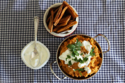 Sweet potato hummus with tzatziki sauce and spicy pita chips