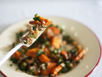 Sweet potato brown rice salad w/ herbs, toasted pecans, chickpeas and balsamic mustard dressing.