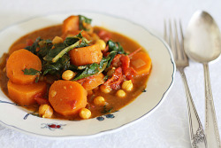 Vegan sweet potato, chickpea and kale curry.
