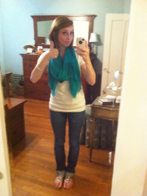 Mother's Day late lunch outfit!  Shirt: Target Jeans: 7 for all mankind Scarf: Forever 21 Shoes: Buckle