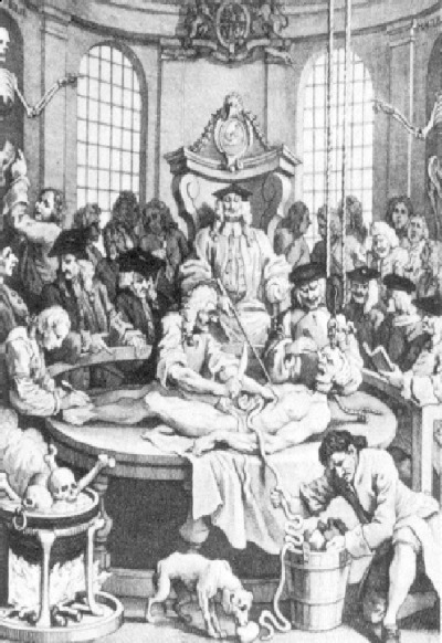 "Drawing of ""medical practice"" on cadaver in England. Notice Masonic skull & crossbones lower left and Masonic cable-tow around the cadaver's neck. This medical practice was taking place in a Rosicrucian Masonic Lodge. Rosicrucians were forced to practice alchemy in secret, inside their Masonic Lodges. Such experiments were considered witchcraft by Crown and Church, hence forbidden. Speculative Masons caught in this act were subject to being put to death. (British Museum)"