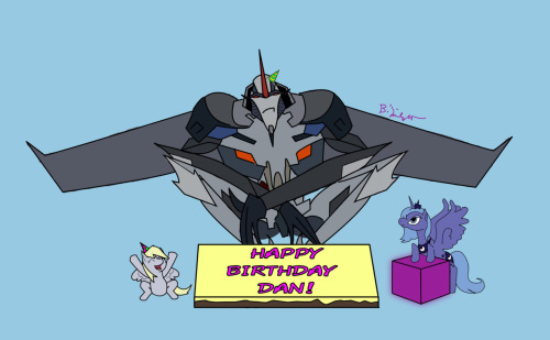 For Dan, tomorrow is his birthday.  Luna promised Starscream the Energon Cube if he behaved himself.