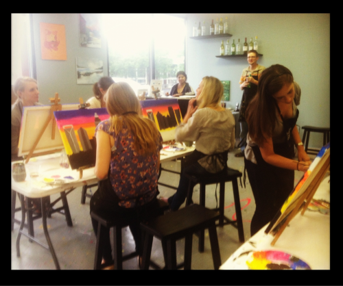 Wine and painting Sunday with the girls. Wonderful end to a busy weekend!