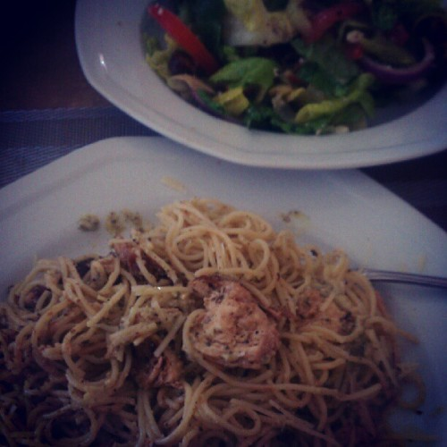 Chicken Pesto Parmesan Angel Hair Pasta and Greek Salad (Taken with instagram)