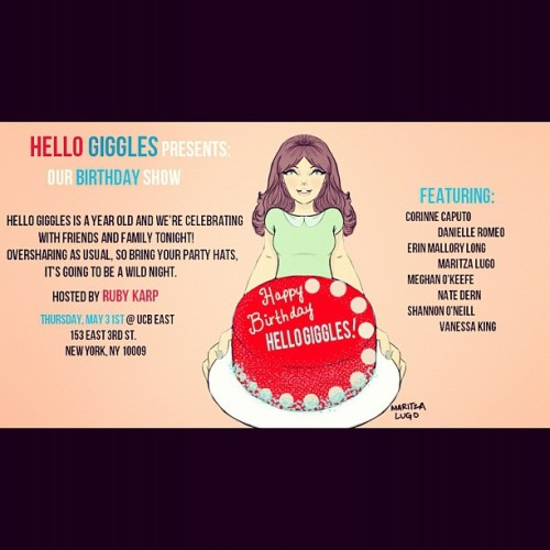 hellogiggles:  Taken with instagram  Our friends in NY should go see Ruby & Co. at the UCB on the 31st! Reserve tickets here.