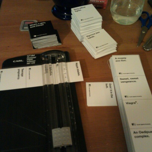 Home stretch on cutting out #CardsAgainstHumanity.  They forgot to mention that there are 5,000,000 cards!!! (Taken with instagram)