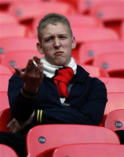 This Manchester United fan is still at the Stadium of light, sad that his team lost the Premier League title to rivals manchester City.