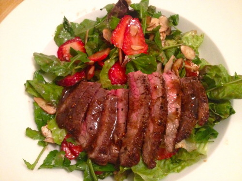Farm Stand Steak Salad Skirt steak, red lettuce, arugula, strawberries, sliced almonds, goat cheese and balsamic vinaigrette with Little Batch mustard and pomegranate molasses.