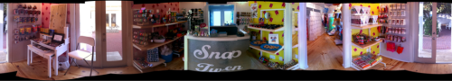 A poorly stitched together Panorama of Snap Tweens front room, looks a lot better in person, we promise:) Come check us out on your next trip into Seaside.