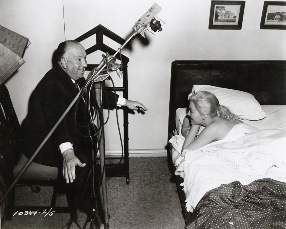 Alfred Hitchcock and Kim Novak on the set of Vertigo (1958)