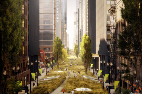 "Prairie Avenue by Röllerhaus It depicts Chicago with a future more sustainable and utopian than ""Gotham"". Arteries typically dedicated to automobiles are used for both public transportation and park/natural habitat."