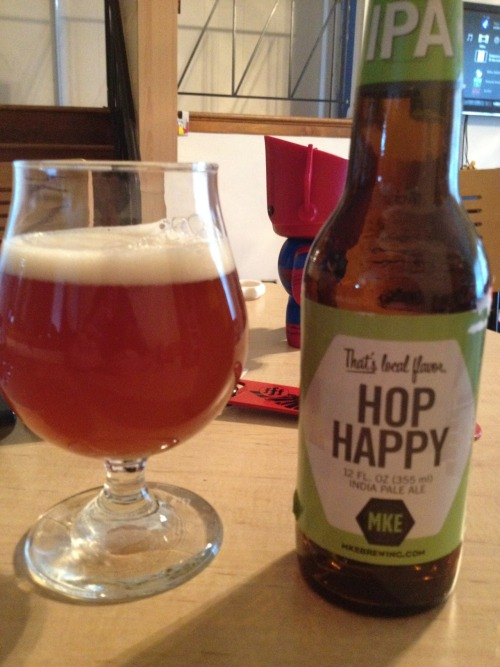 Milwaukee Brewing | Hop Happy | 7.7% ABV IPA This brewery is fairly new to the Chicago area or at least new to me. Of course I'm going to try the IPA first. Let's give it a WHIRRLLLL!!! This is pretty bland and boring. The hops might be dead but you would never know because there's no bottle date. There's not much else I can say about this. I would stay away unless you can find a bottling date. Big meh. Price: $9.99/6-pack Rating: 3/10