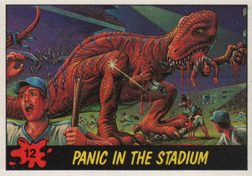"DINOSAURS ATTACK! Card #12: ""Panic in the Stadium!"" This card could be yours! Free Dinosaurs Attack trading card (and more) with every shirt order!   http://www.beastwreck.com/"