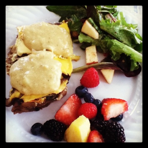 The mother's day meal. Vegan mushroom strata with cheeze sauce, fruits, and salad! (Taken with instagram)