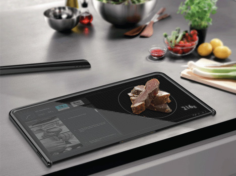 Dual-Sided Digital Cutting Board & Scale for Clean Cooking Loef, dornob.com Tak­ing tablets to a new level of daily usage, this con­cep­tu­al cut­ting board puts your recipes, pic­tures of the food you are prepar­ing and other resources right where you want…  One hopes this would come with new water-repelling glass, too