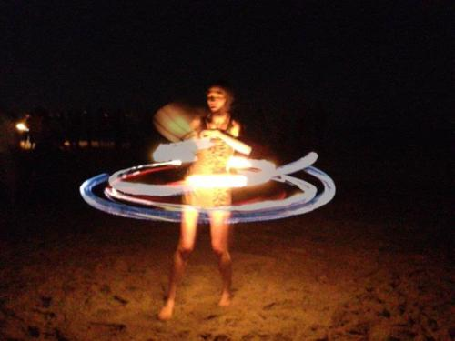 My friend doing fire hooping for her first time.