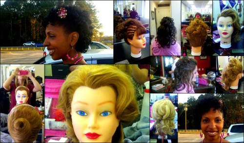 These are a couple example of my earliest updos while in school.  While everyday styling has come very naturally to me, special occasion hair has been one of my biggest challenges, but thankfully we have had lots of time to practice and refine our skills.  Now I am ready for any prom season or wedding ceremony that strikes.