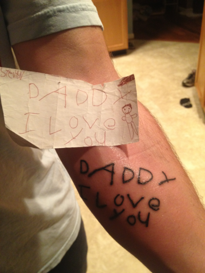 "heystevan:  When I was 4 years old, i wrote a note to my dad that said ""I love you daddy"". As of late, my father and I haven't been on the best page. We would constantly fight and argue over the stupidest shit. Friday (May 11th, 2012) i left my house right after school to go spend the day with my girlfriend. I got home and everyone was asleep so I went to bed too. The next day was my prom. There was a pre-prom party at my house and my sister had a 5k run so the day was chaotic and the last thing on my mind was my father. Today (Sunday, May 13th, 2012) I was leaving my soccer game and I saw writing on my dads arm. I asked what it was and he said it was my little sister writing on him in sharpie. I didn't believe it. He then told me the story, and I couldn't help but be happy. I know its mothers day but dad, I love you. I'm sorry for all the shit i ever gave you and all the times I thought you didn't care. I really do love you. Thank you for all you have ever given me."