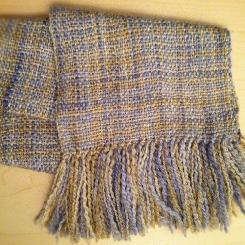My first woven project (a scarf, of course). Warped, woven, blocked and dried in less than a day. #yarn #weaving #scarf (Taken with instagram)