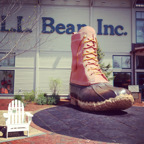 L.L. Bean  When I got up this morning, I set off for Maine.  The purpose, of course, was to visit the L.L. Bean flagship store in Freeport.  This was an excursion that did not disappoint!    In addition to the main store, they also have a Hunting & Fishing store and Home Store.  It was an L.L. Bean wonderland.  If I'd wanted, I could have shown up at any time because they are open 24 hours a day, 365 days a year.   I'm now the proud owner of some Bean Boot mocs which will enable me to deftly navigate the rare puddle in So. Cal.  I saw about 4,000 things I wanted so I made sure to leave before my will grew too weak.    All in all?  Worth the 2 hour drive up and back.  Totally.