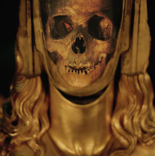 Believing this to be the skull of Mary Magdalene when it was found in the 1200s, French Catholics encased it in gold, evoking a luminous specter of the woman the Bible describes as one of Christ's most loyal followers. It is displayed at a basilica in St.-Maximin-la-Ste.-Baume. (Photo Lynn Johnson) Via National Geographic.