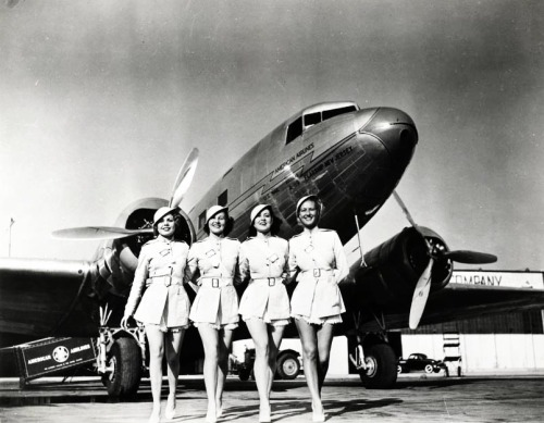 Showgirls from The Gold Diggers of 1938 will make the flight on one of these huge American Airlines sleeper planes. In this photo are, left to right, Melba Marhall, Mildred Law, Rose Tyrell and Carolyn Newel.