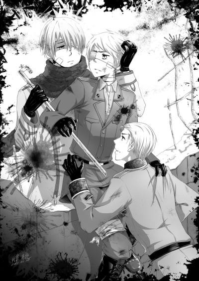 """Stay…пожалуйста…""Hetalia, Russia x Prussia x Germany. (9th November,1989. The Fall of the Berlin Wall.)"