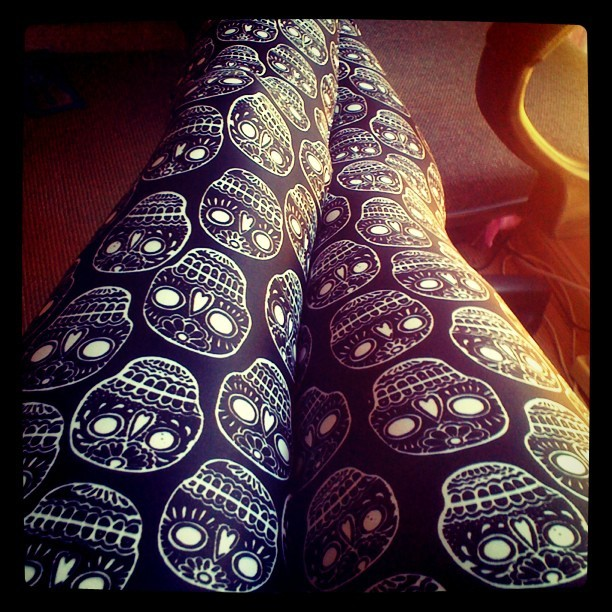 Day of the dead leggings :) #uptights (Taken with instagram)