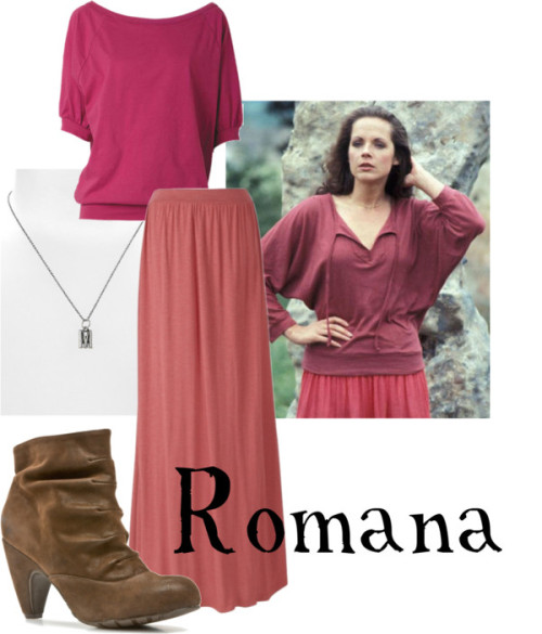 Romana  Long shirt, $15Fat Face long maxi skirt, £25Brown boots, $35Necklace, $10