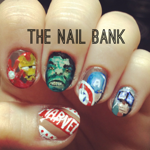 thenailbank:  No more waiting, Avengers Nails for you fine nail freaks!