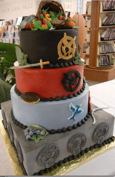 catchingfireallnight:  GRAD CAKE: MAY THE GRADES BE EVER IN YOUR FAVOR.  the college games. (the hunger games) berries are the all nighters i'll pull. bow and arrow for the food i'll have to capture (not sure how that'll go) i'll have to think how the rest of it will work.. BUT WORK IT SHALL.