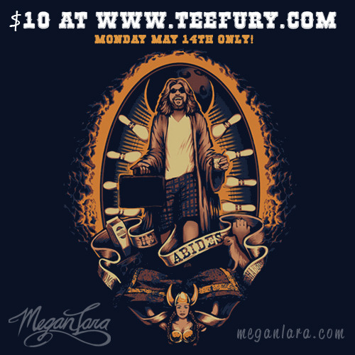 "meganlara:  ""He Abides"" by Megan Lara is available at www.teefury.com on Monday, May 14th for $10!   Please tell any Dudeists and other followers of the Dude.  Or even people who just like to bowl and drink white Russians. <3"