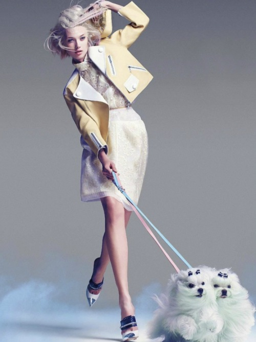 "electriccloset:  Olivka Chrobot - Marie Claire June 2012 ""The dogs!"""