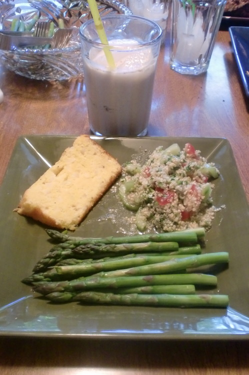 Mother's Day Dinner!Quinoa Salad with Citrus Dressing, Paraguayan Corn Bread, Steamed Asparagus, and homemade Horchata.All recipes coming tomorrow!