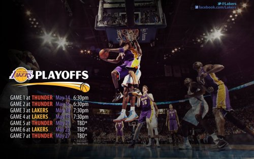foreverla:  Lakers v OKC Thunder 2nd Round Schedule Wallpaper. Get it here. Game 1 tomorrow, 6:30PM PST on TNT. Don't miss it.