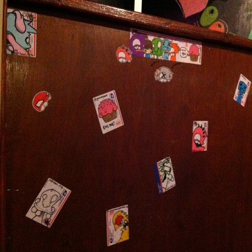Sticker wall at bobos bar!! If any of you guys want your stickers on this wall, Hmu at fawboy@gmail.com. @gracehypark @ejjboy @killadel_fys @spacelysprockets_fys  (Taken with instagram)