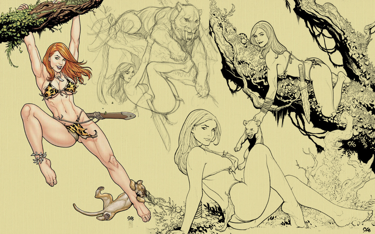 Jungle Girl and Cubs by Frank Cho